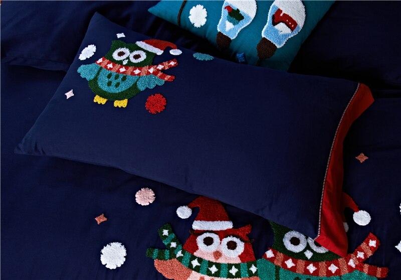 4/5 piezas de algodón de Egipto lijado de dibujos animados búho ropa de cama conjunto de toallas de bordado cálido edredón juego de sábanas fundas de almohada reina rey tamaño - 6