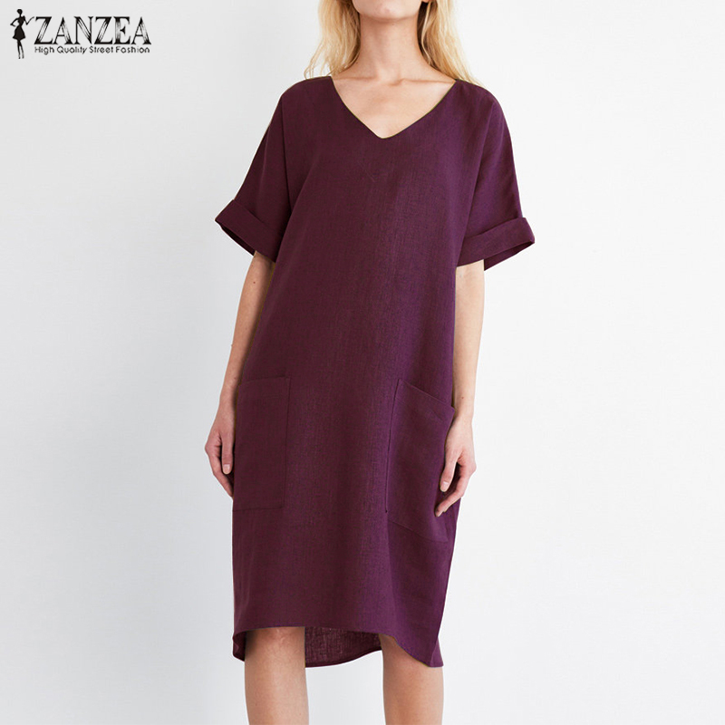 2018 ZANZEA Summer Women V Neck Short Sleeve Pockets Loose Solid Shirt Vestido Casual Elegant Cotton Linen Work Dress Plus Size 1