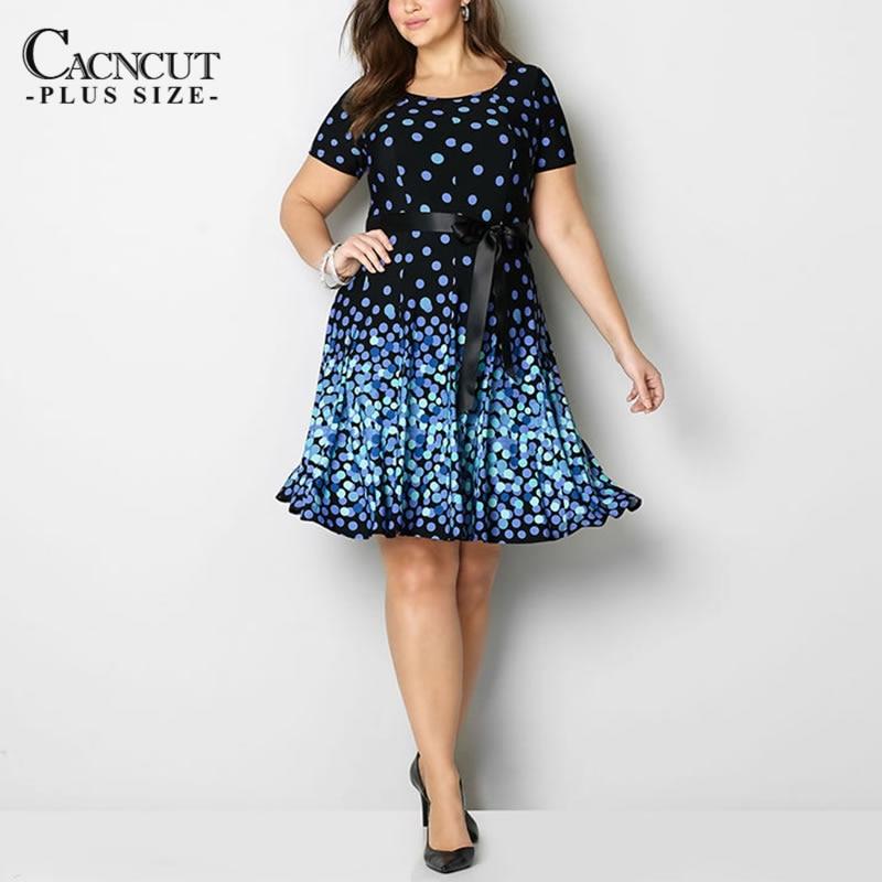 Elegant Fashionable Summer Women Dresses New 2019 Vintage Plus Size Polka Dot Print Dress Big Size Casual Office Dress Vestido short dresses office wear