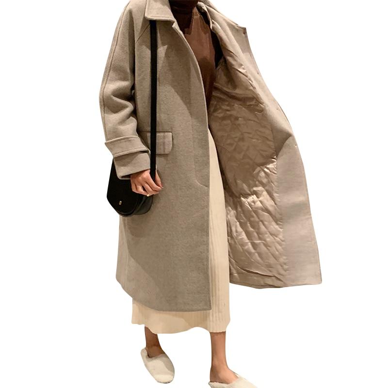 U-SWEAR Autumn Winter Wool Blend Coat Women Long Sleeve Turn-down Collar Jacket Casual Woolen Thicken Outwear Solid Overcoat
