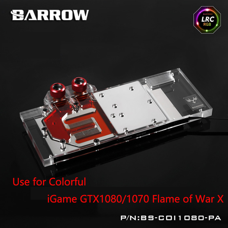 BARROW Full Cover Graphics Card Block use for Colorful iGame GTX1080/1070 Flame of War X / Kudan Radiator LRC RGB BS-COI1080-PA computador cooling fan replacement for msi twin frozr ii r7770 hd 7770 n460 n560 gtx graphics video card fans pld08010s12hh
