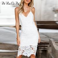 DeRuiLaDy Women Sexy Fashion Lace Sling Dress 2018 Spring Summer Sleeveless V Neck Bodycon Pencil Dresses