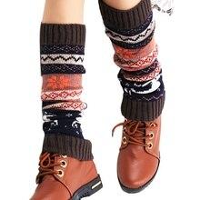Горячая Рождественская олень Лоскутные женские зимние теплые Вязаные Гетры длинные носки для высоких ботинок выше колена крючком Красочные шерстяные гетры