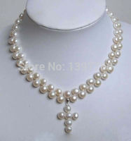 Miss charme Jew.126 S'engager Blanc D'eau Douce Perle Collier CROIX PENDENTIF AAA