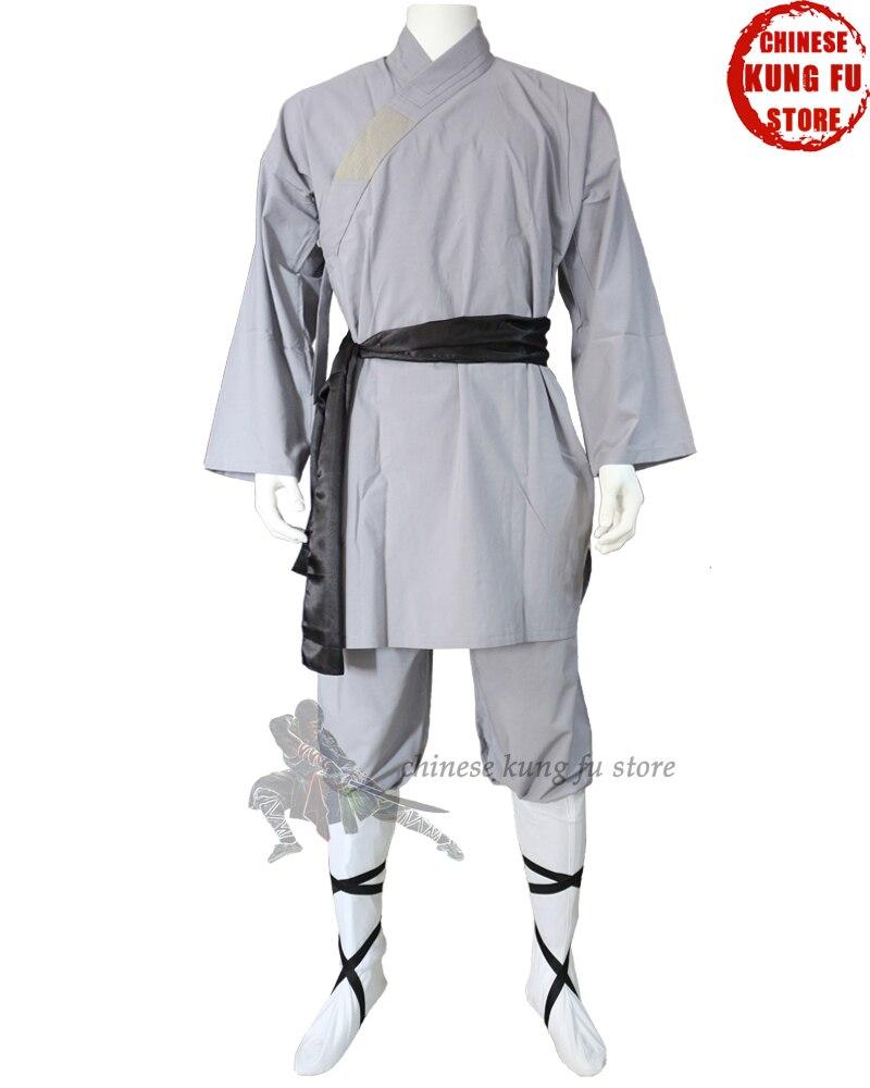 Enfants adultes populaire coton gris Shaolin uniforme bouddhiste Robe arts martiaux Tai chi Kung fu costume