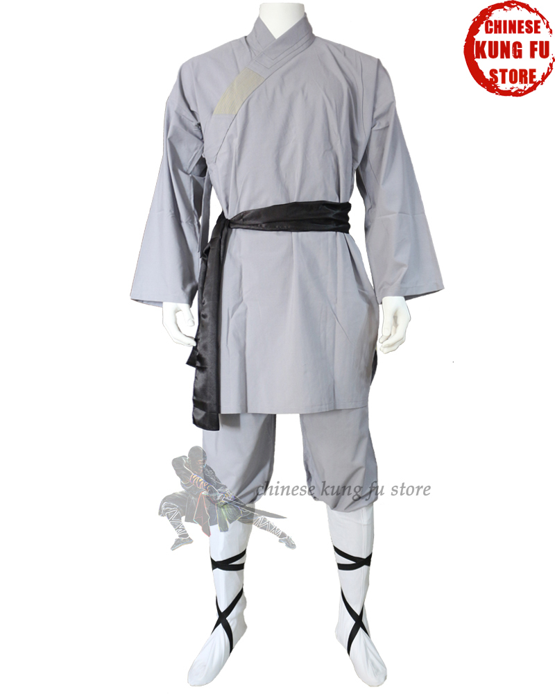 Kids Adults Populære Grå Cotton Shaolin Uniform Buddhist Robe Kampsport Tai Chi Kung Fu Suit