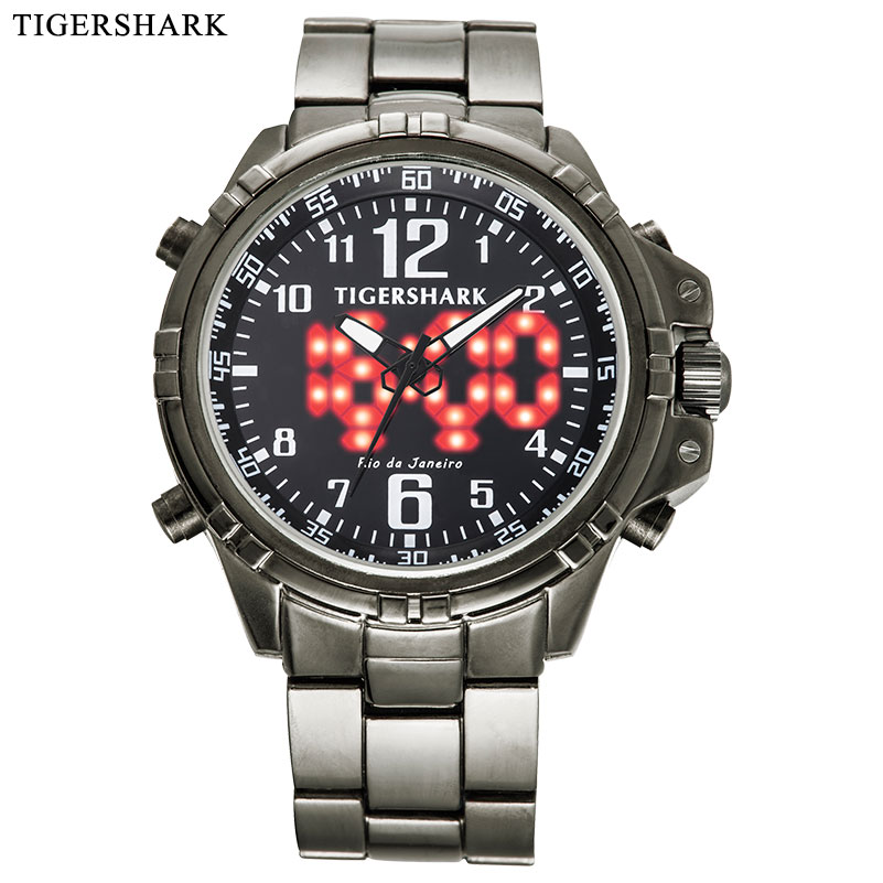 TIGERSHARK Men's Sport Watches Fashion LED Digital Watches Alloy Quartz Watch 30M Waterproof Black Relogio Masculino Quartz Watches     - title=