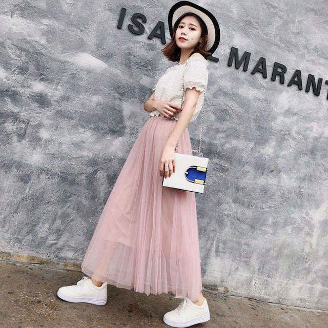 9d64f44e844f57 EFINNY Women's Flowy Pleated Tulle Skirts Ankle Length Midi A Line Elastic  Waist Party Mesh Skirts