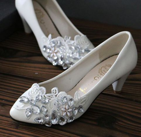 ФОТО 100% real photos handmade the rhinestones lace wedding pumps shoes for woman  low med high heels bridal bridesmaid shoes