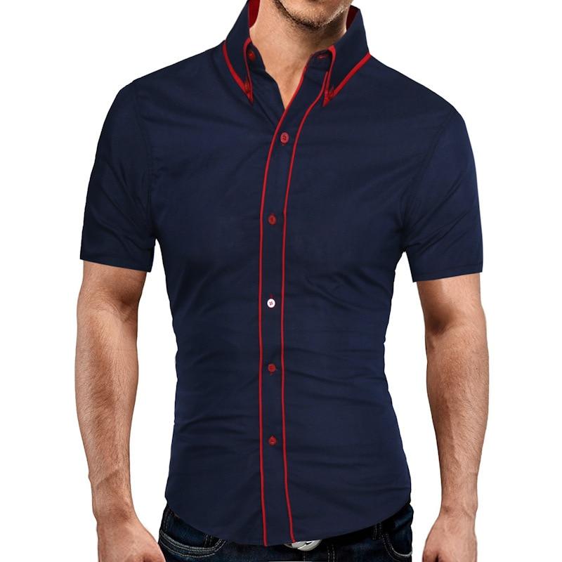 Brand 2018 Fashion Male Hawaiian Shirt Short-Sleeves Tops Double Collar Button Design Mens Dress Shirts Slim Men Shirt 2XL