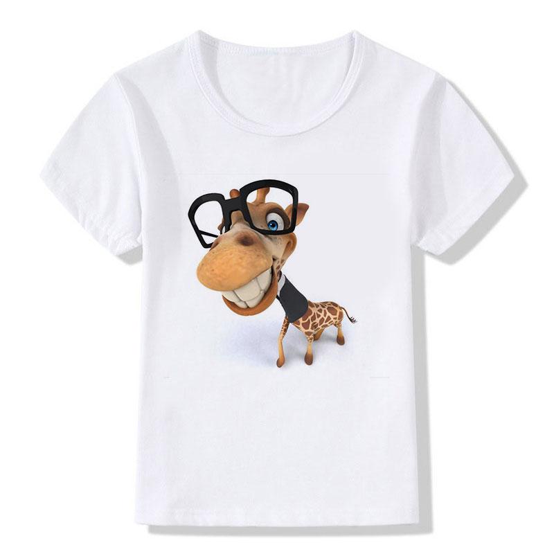 Kinderen Tops Tees Cartoon Grappige Big Head Giraffe met zwarte - Kinderkleding - Foto 4