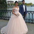 Elegant Princess Short Sleeves Ball Gown Wedding Dress 2017 vestido de noiva Beaded Back Lace Up Bridal Wedding Gowns Charming
