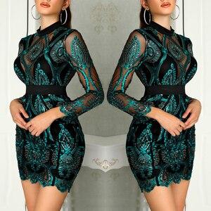 Image 4 - 女性ドレスイブニングパーティー長袖プリーツスパンコール秋のレースの刺繍最高のギフトミニ美しいチャーミングスリムフィット
