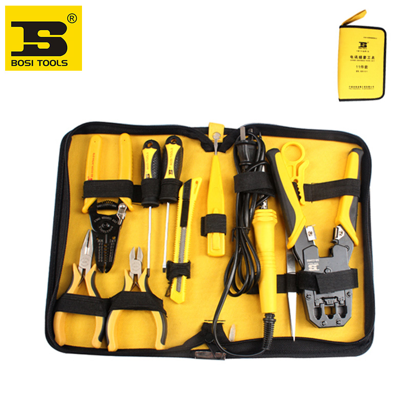 free shipping BOSI 11pc electrician telecommunications net work tool kits free shipping bosi brand new 50pc mechanics tool set china top ten brand