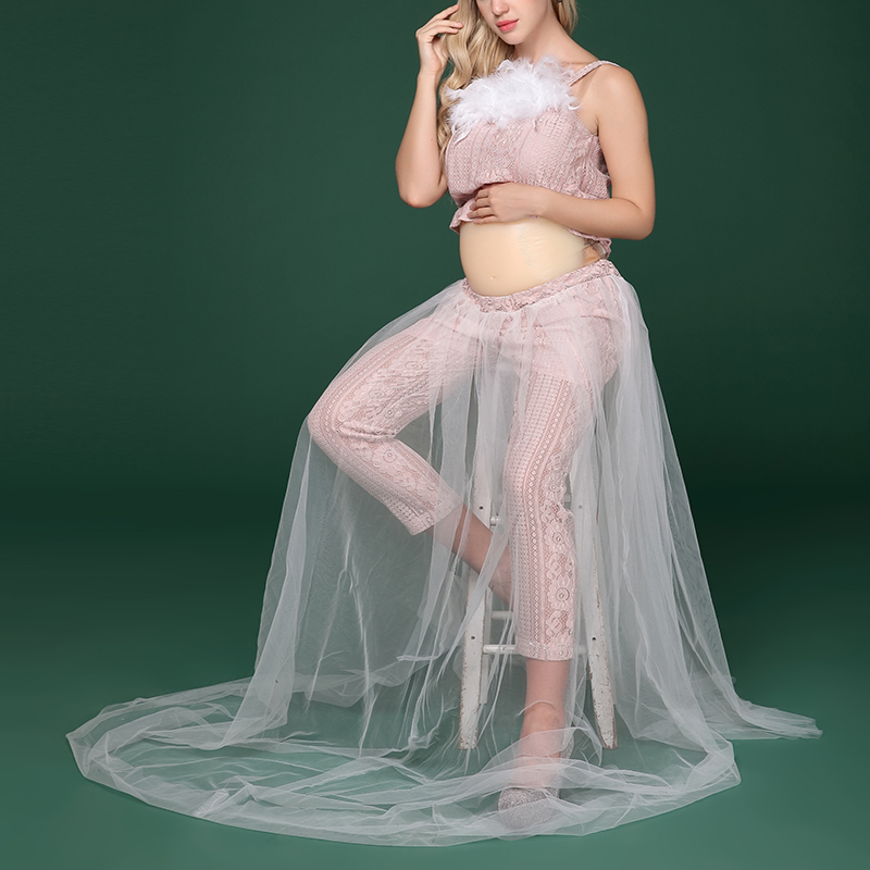Maternity White Lace Clothes with Feather Photography Props Pregnancy Pregnant Women Photo Shooting Pink Tops+Lace Pants Clothes