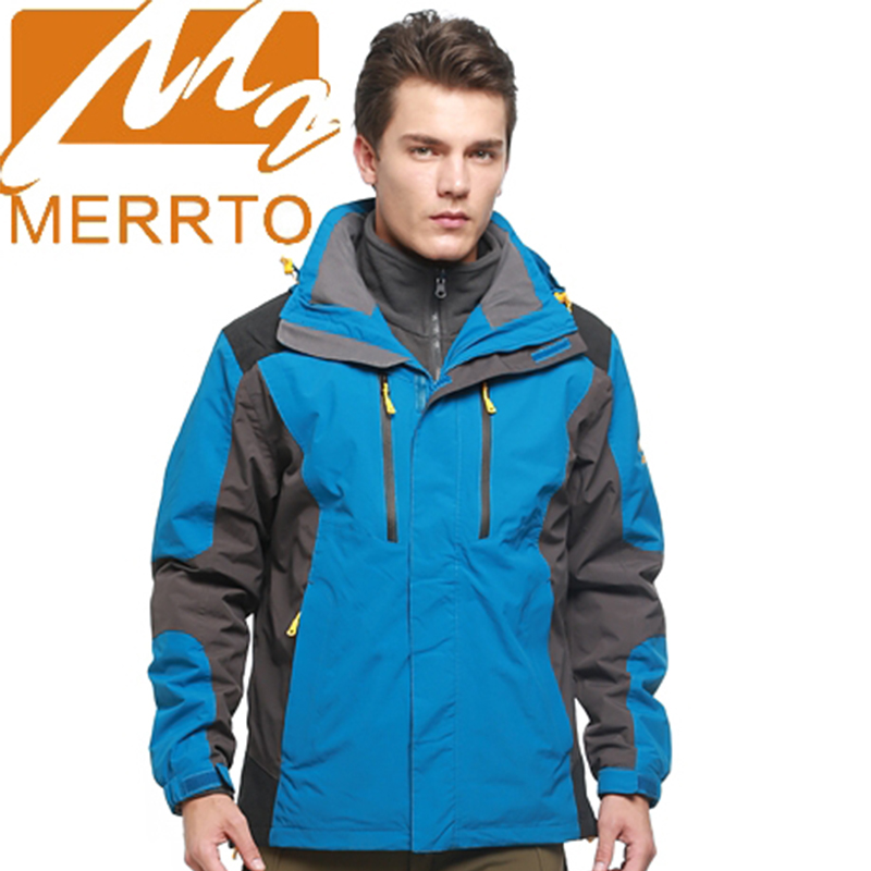 2018 Merrto Mens Hiking Camping Jackets Waterproof Windproof Sports Jackets Outdoor Warmth Jackets For Men Free Shipping 19015 2017 merrto womens fleece hiking jackets mountain clothing thermal color blue pink rose green for women free shipping mt19155