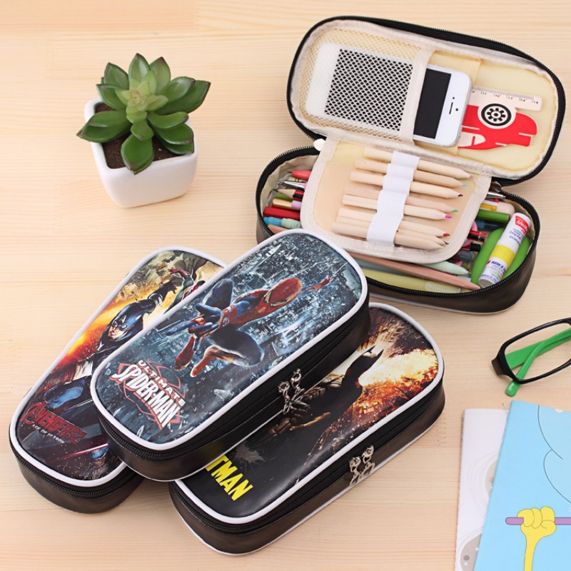 Hero series zipper pencil case for kids Superman batman PU leather pencil bag big capacity stationery pouch office school supply deli gradient candy color large capacity zipper pencil stationery case student pencil bag