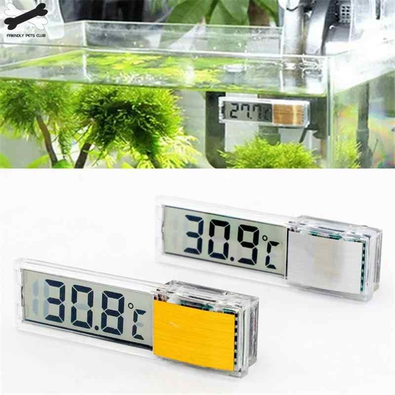 เครื่องวัดอุณหภูมิ Aquarium Digital LCD อิเล็กทรอนิกส์ปลาถัง 3D ดิจิตอลอุณหภูมิสติกเกอร์กุ้งปลาเต่า G3615