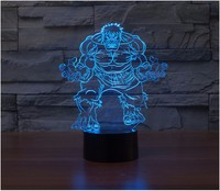 Hot Avengers LED Night Light Children Color Change 3D Luminaria Lamp Captain America LED Lighting Toy