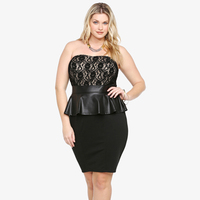 Dower Me Plus Size Dress XXXL Women Lace Peplum Dresses Vestidos 2017 New Elegant Black Slimming