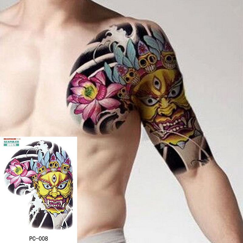 Large Size Temporary Tattoo On Chest Body Arm Shoulder Cool Fake Tattoos Water Transfer Tattoo For Men Big 32*24cm Tatto Sticker
