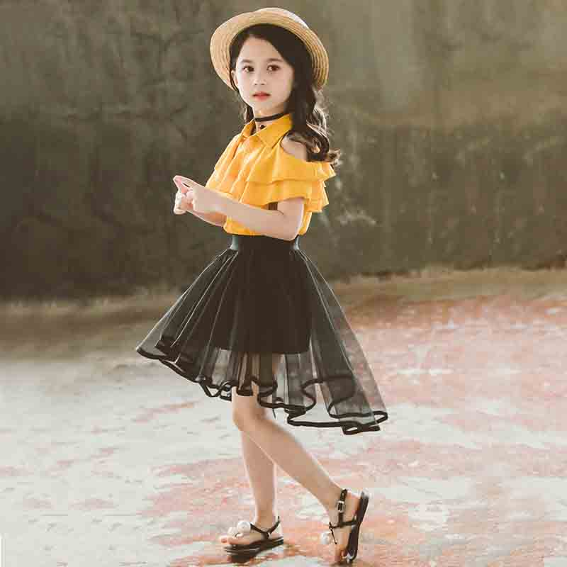 Kids Fashion Teenage Girls Clothing For Girls Outfit Half Skirt Suit Children Costume Single breasted Strapless Girl Clothes in Clothing Sets from Mother Kids