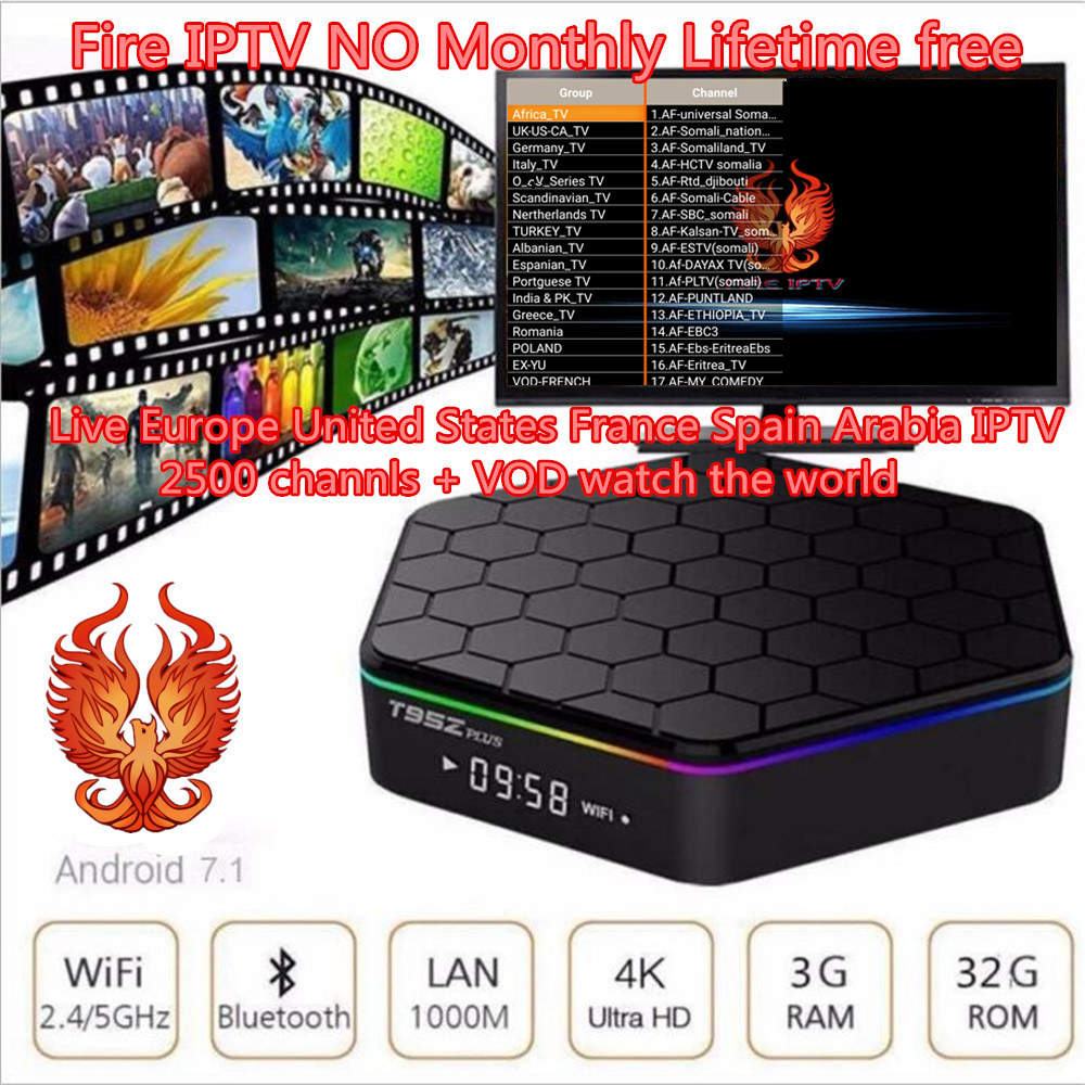 Smart tv box t95z plus s912 iptv box android 7.1 à vie gratuit 2900 4 k XXX fire tv iptv france abonnement iptv récepteur box tv