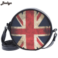 Trendy Unisex Special Circular Shoulder Bag Beautiful 3D Cartoon Printing Flag America Fashion Bolsos Leather PU Messenger Bag