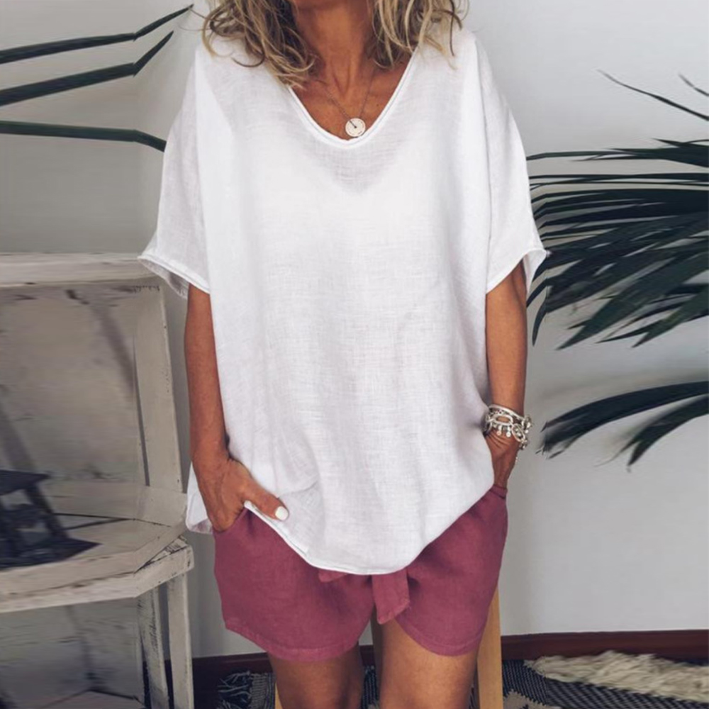 Rerto Tunic Cotton Linen Women's   Blouses     Shirts   Loose Half Sleeve Womens Tops And   Blouses   Plus Size Summer Blusas Pullover