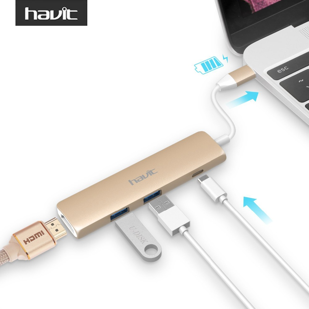 HAVIT USB-C 3.0 Hub 4K HDMI (30Hz) Video Output 3.1 Type-C Hub with PD Specification 2 SuperSpeed USB 3.0 Ports HV-TPC78