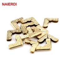 100pcs Naierdi Gold Corner Bracket Book Scrapbooking Albums Menus Folders Corner Protectors For Furniture Decorative Hardware