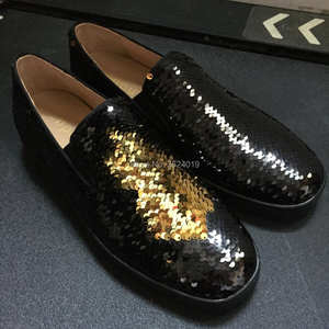 Low-Cut cl andgz men black Blue with Sequins Or Glitter Slip-On casual Red  bottom shoes Leather Loafers 2018 Footwear Spring 6335eea44a1b