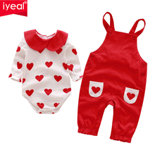 IYEAL Princess Baby Girl Clothing Sets Infant Newborn 2 Pieces (Bodysuit + Overalls) for Kids Toddler Clothes 0-18M