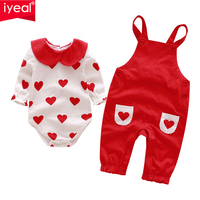 IYEAL Princess Baby Girl Clothing Sets Infant Newborn Baby 2 Pieces Sets (Bodysuit + Overalls) for Kids Toddler Clothes 0 18M
