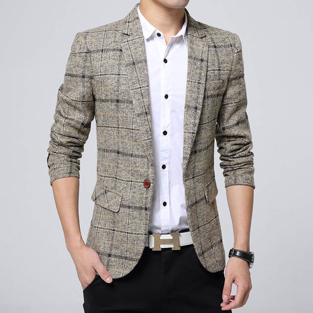 9404921bed75 Blazer men 2019 Spring Autumn New Mens knitting Plaid Suit Fashion Single  Button Casual Silm Social Business men jacket Coat-in Blazers from Men's  Clothing ...