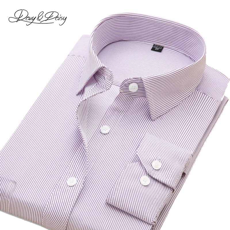 DAVYDAISY High Quality Men Shirt Long Sleeved Classical Solid Plaid Striped Casual Dress Shirts Men Camisas 19 Options DS-043