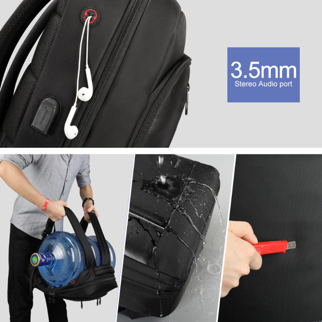 Tigernu Brand High Quality Water Repellent Nylon Men 15.6 inch Laptop Backpack Black&Purple Anti Theft Business Travel Schoolbag 4
