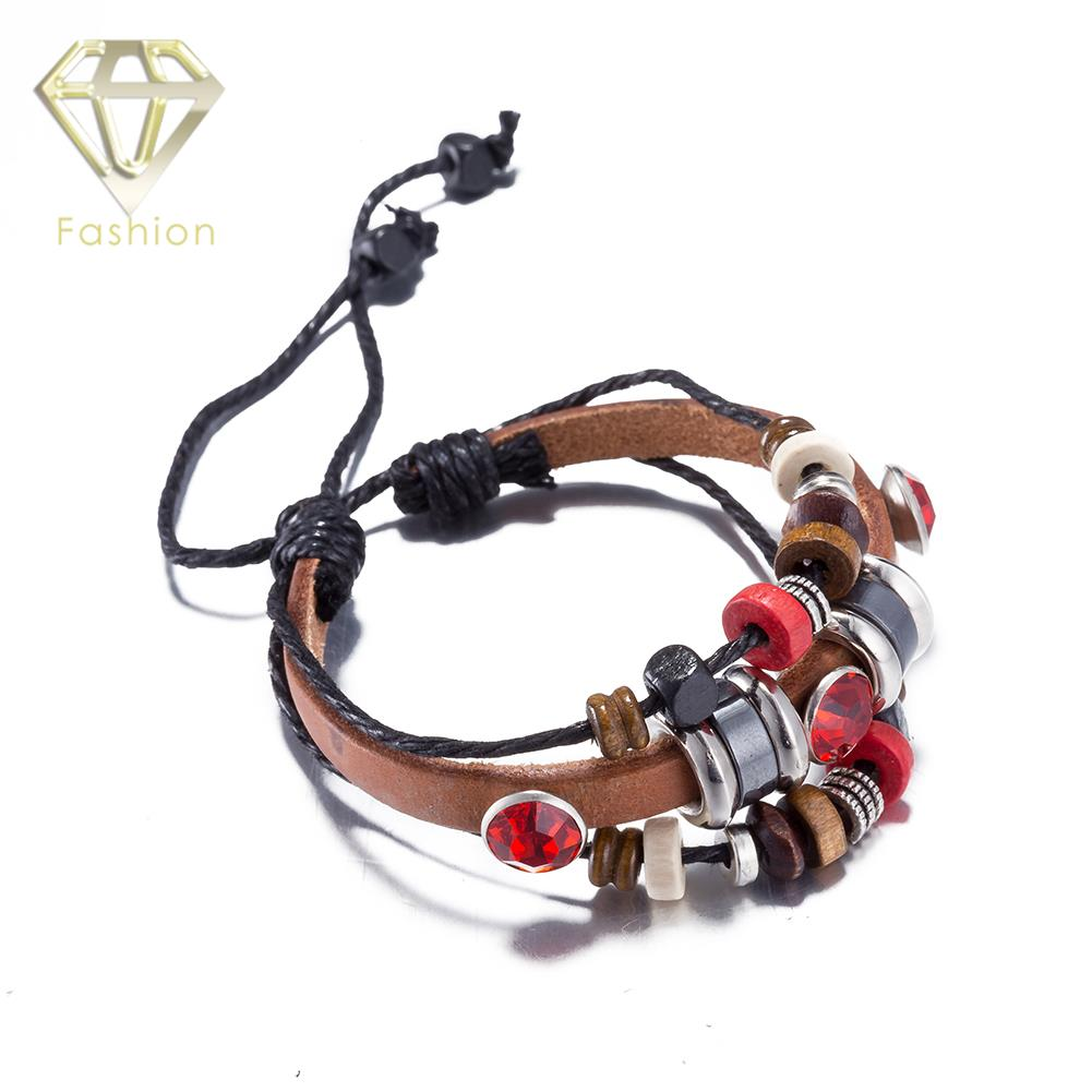 Leather Bracelets for Men Women Cute Red Style Infinity Charm Bracelet with Multi Small Pendant Jewelry