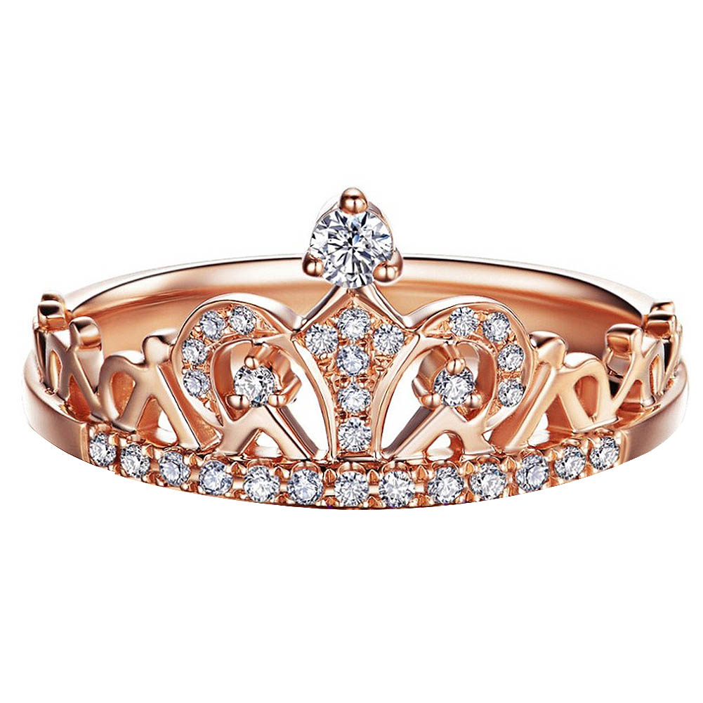 Crown Rings Rose-Gold-Color Women Jewelry Girl Fashion Popular Party for Size:16/16.5/17-/..