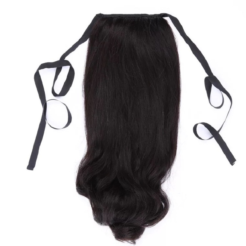 Haarverlängerung Und Perücken Voller Glanz Band Pferdeschwänzen Einfarbig Haar Extensions Clip In Pferdeschwänzen 100g 100% Remy Menschenhaar Für Frauen Lange Wellenförmige Haar Rheuma Lindern