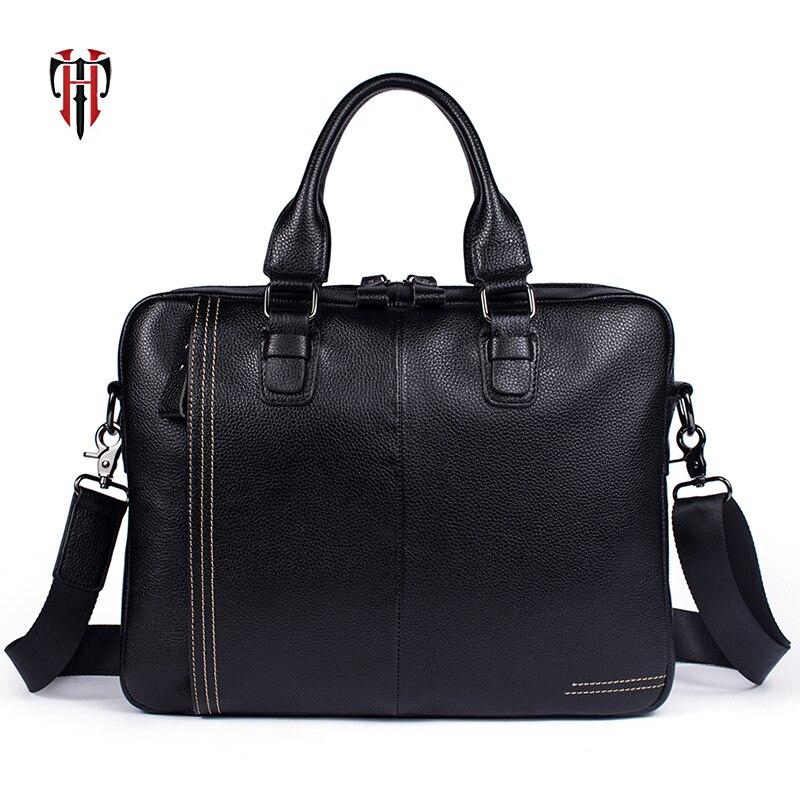 TIANHOO Fashion Litchi Pattern Briefcase Man Genuine Leather Bag A4 Folder Bag Soft Men Shoulder & Handlebag Simple Package
