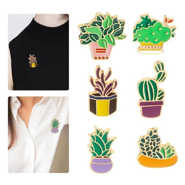 Potted Plant and Cactus Collar Enamel Brooch