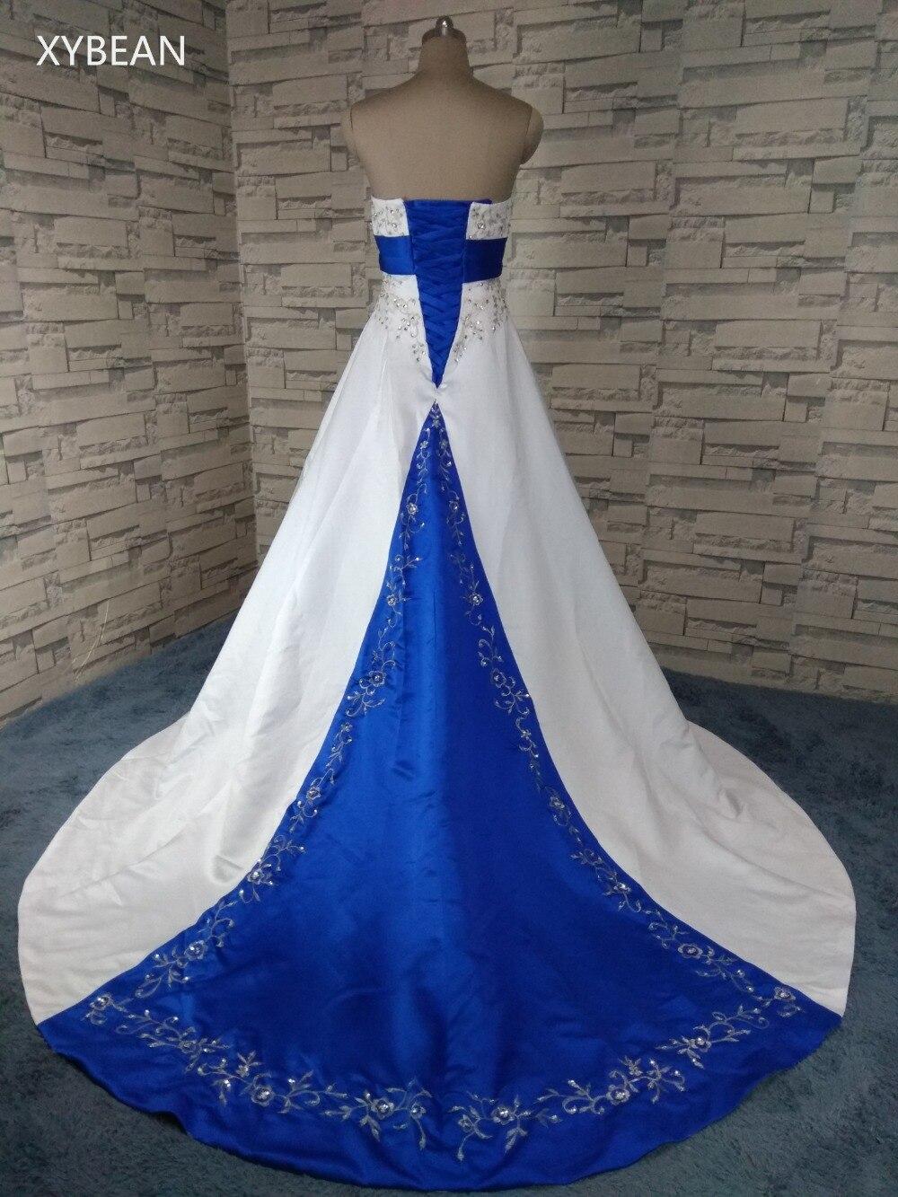 2018 livraison gratuite perles broderie une ligne bretelles avec Train bleu et blanc robes de mariée - 2