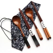 1 Pairs Chopstick +1 spoons Handmade Japanese Natural Wood Chopsticks spoon Set with Gift Pocket Bamboo Chopstick