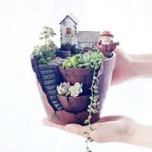 Succulent Plants Flowerpot Micro-landscape Pot Garden Decoration Saksi Planter Bonsai Trough Box Plant Bed Flower Pot Gift