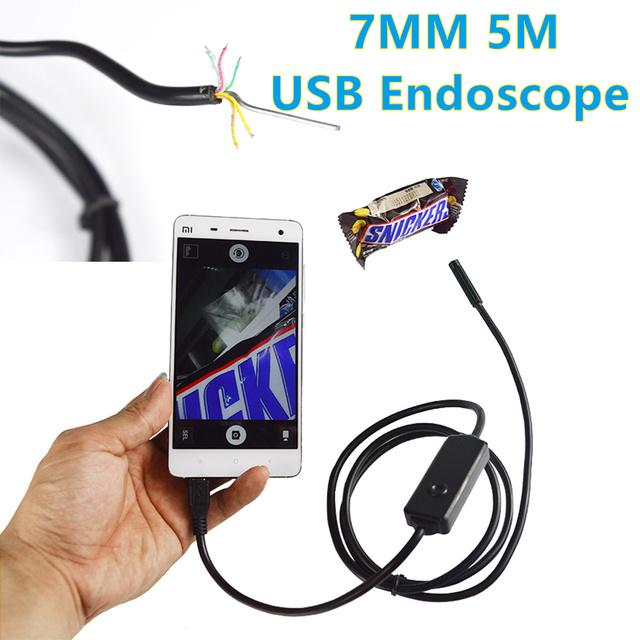 7mm Lens1M 2 M 3 M 5 M Android USB Cabo Flexível da Câmera Endoscópio Snake Inspeção Tubo USB OTG Borescope Câmera Pinhole