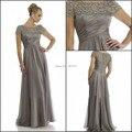 2015 Modern A Linha Mãe dos Vestidos de Noiva Com Mangas Curtas Novo Design Elegante M1002 Ver Através Beading Moda Artesanal