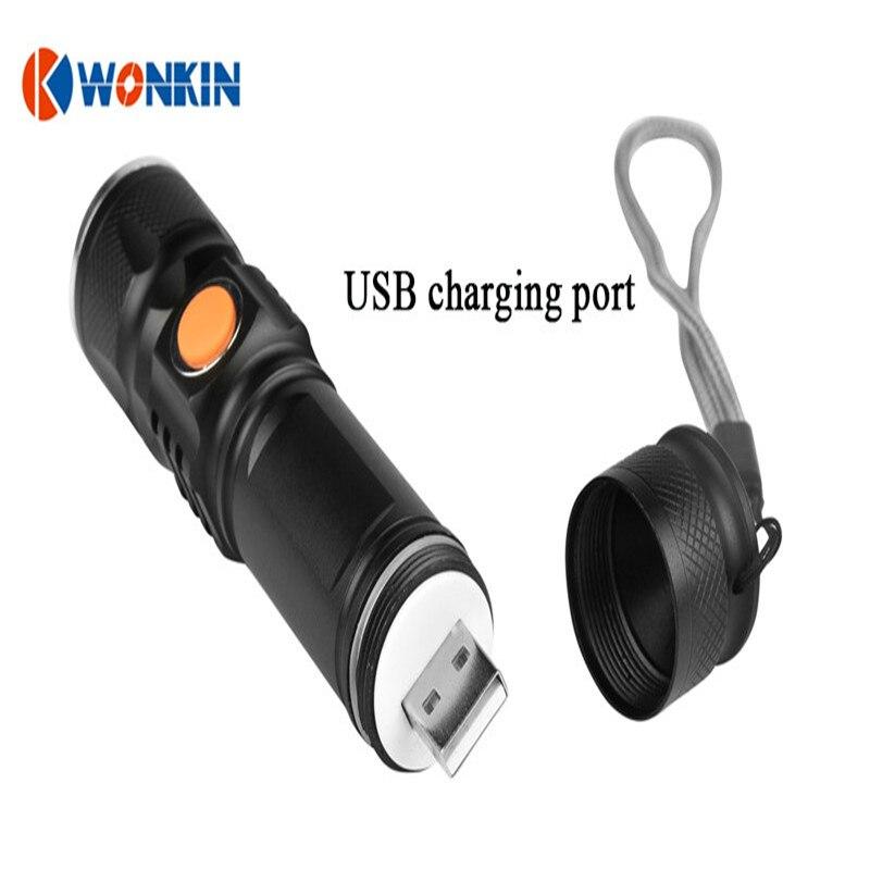 Led lanterna USB a condus lanterna portabilă Lanterna cu LED-uri Acumulator încorporat de lumină bliț impermeabil 3000 lumen