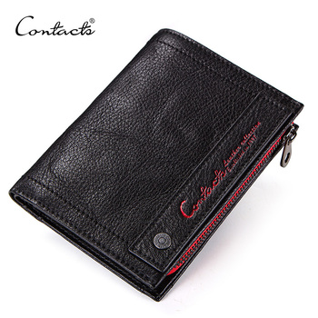CONTACT'S new genuine leather men's wallet short coin zipper pocket card holder male walet slim man's purse small portemonnee