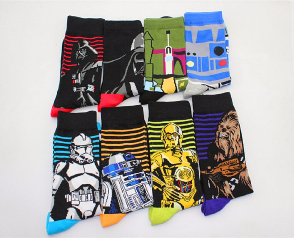 Star Wars action figure Cartoon Jacquard Men Autumn Winter Character Men Crew Socks Cotton Novel Skateboard Tube Socks gifts